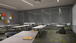Two classrooms separated by a glass wall partition