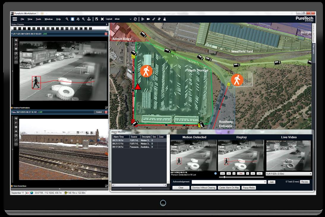 Screenshot of outdoor security video analytics
