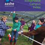 publication cover with an assistant professor and group of students conducting solar research