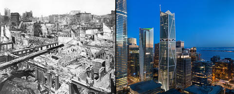 2 photos: black and white of devastation from 1906 earthquake, and recent of resilient skyscraper