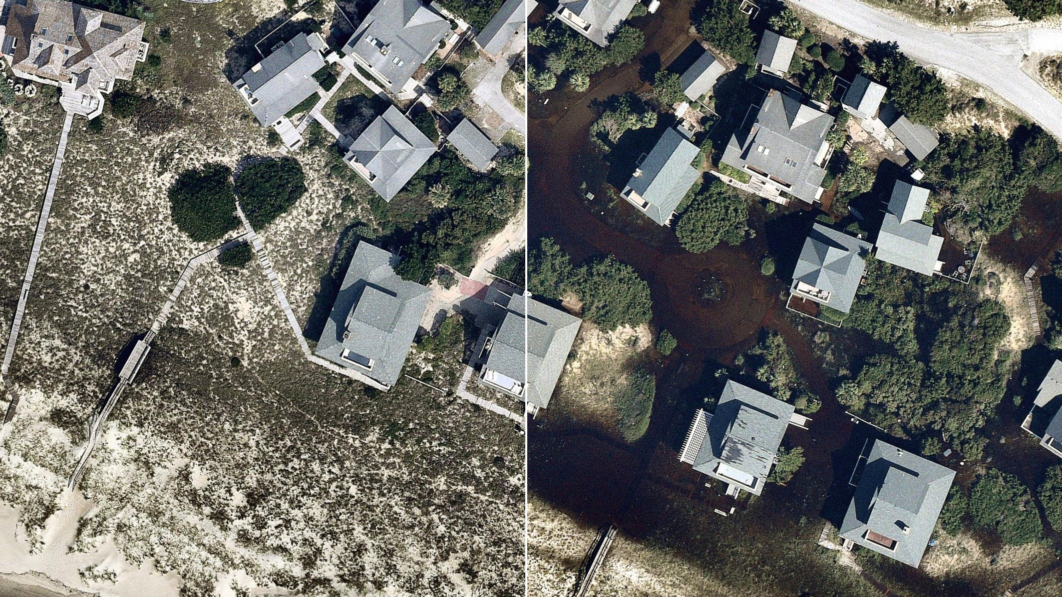 Aerial view of a neighborhood split into before and after disaster