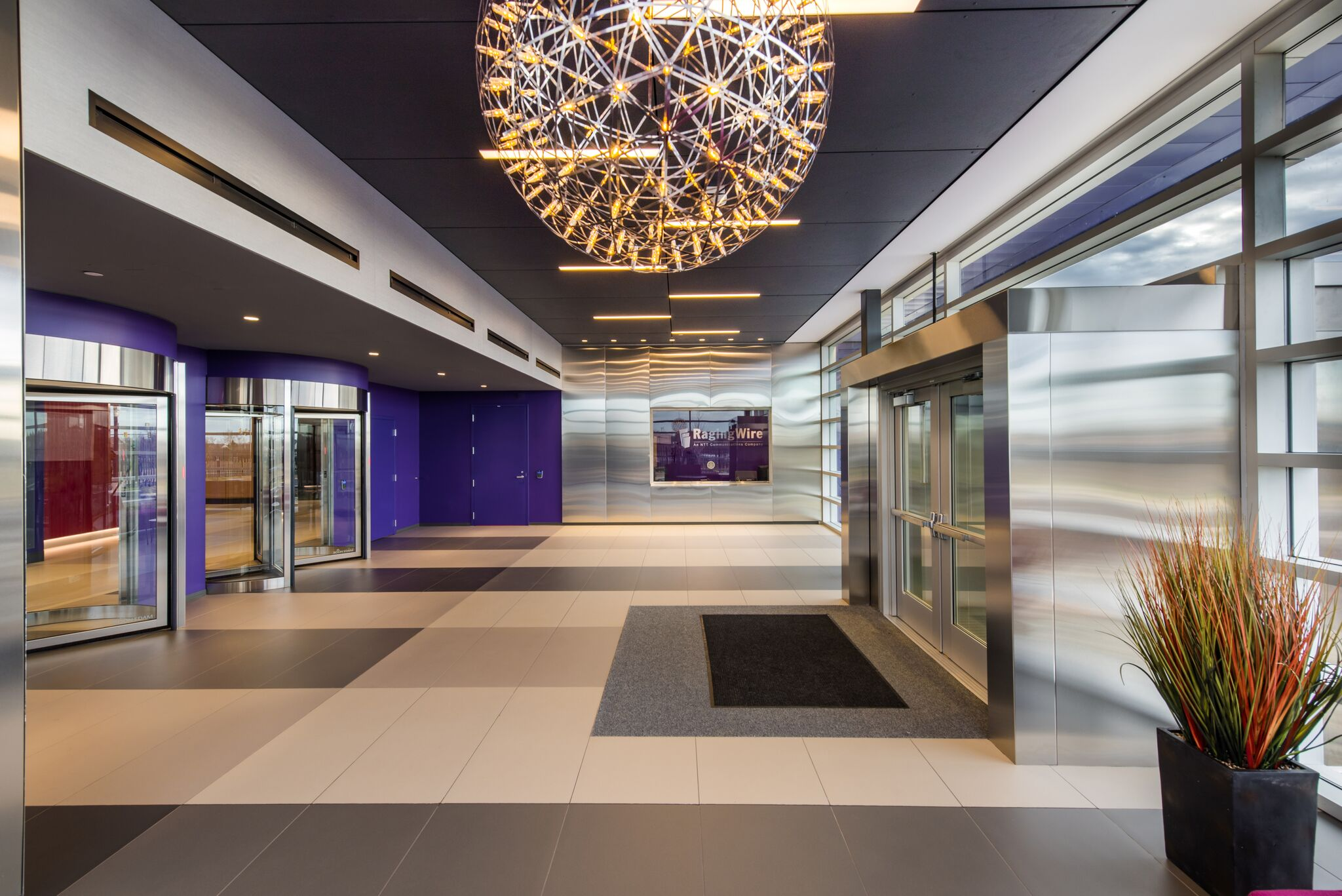 View inside data center entrance lobby