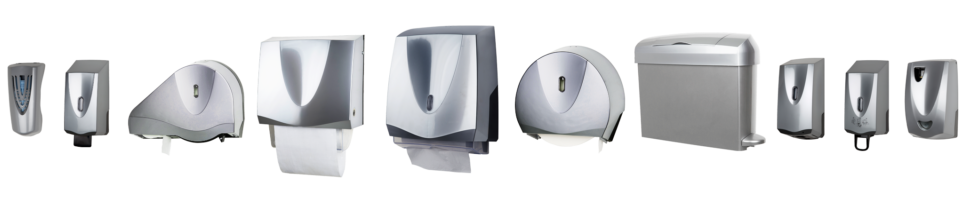 Line-up of satin chrom washroom dispensers