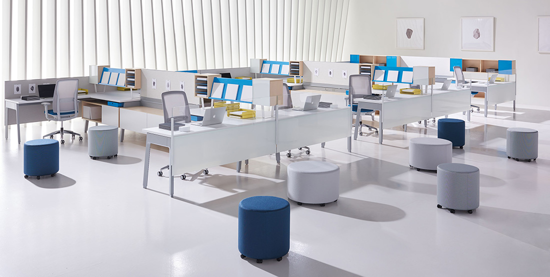 White and blue diverse office furniture collection