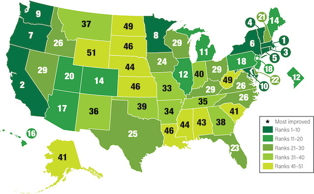 Map indicating states' rankings in energy efficiency by shades of green