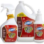 Three Clorox disinfectant products in white bottles with red labels