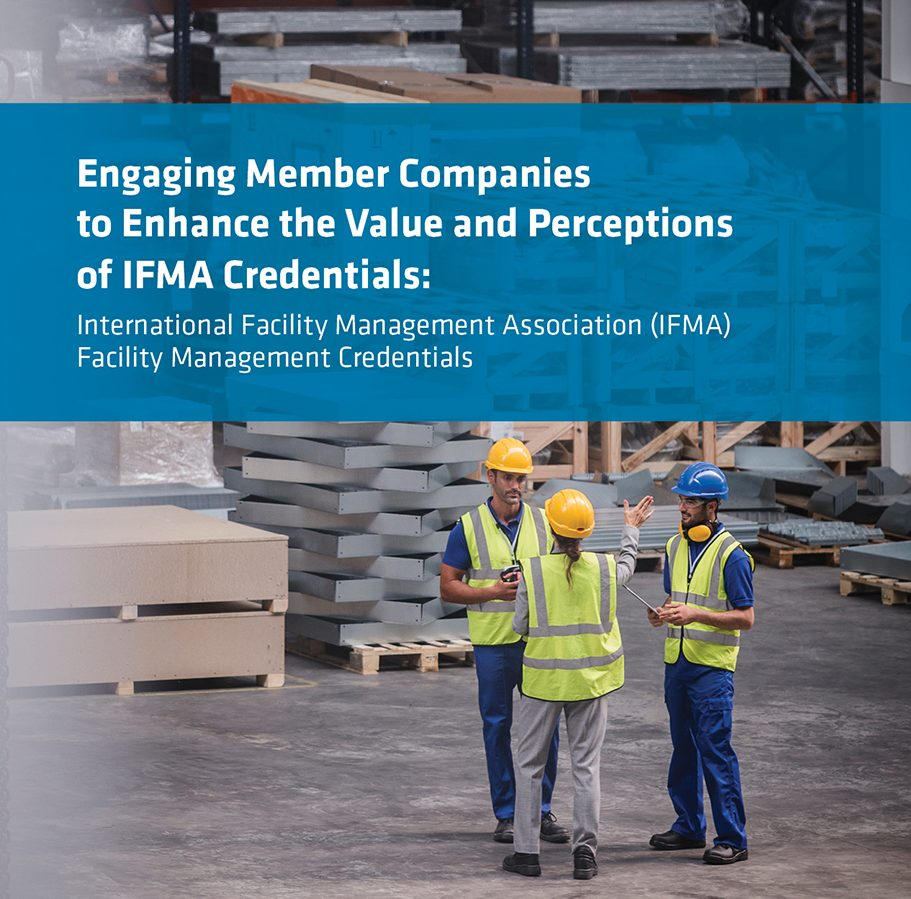IFMA credential report cover with workers in hard hats and safety vests