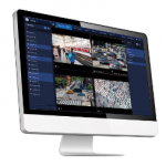 Monitor with feed from 4 surveillance cameras