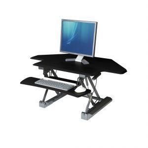 Black-topped corner standing desk converter riser