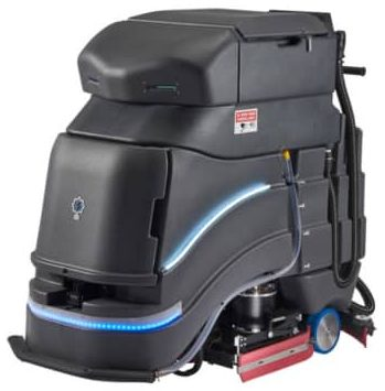 Stylish black self-driving floor-cleaning robot