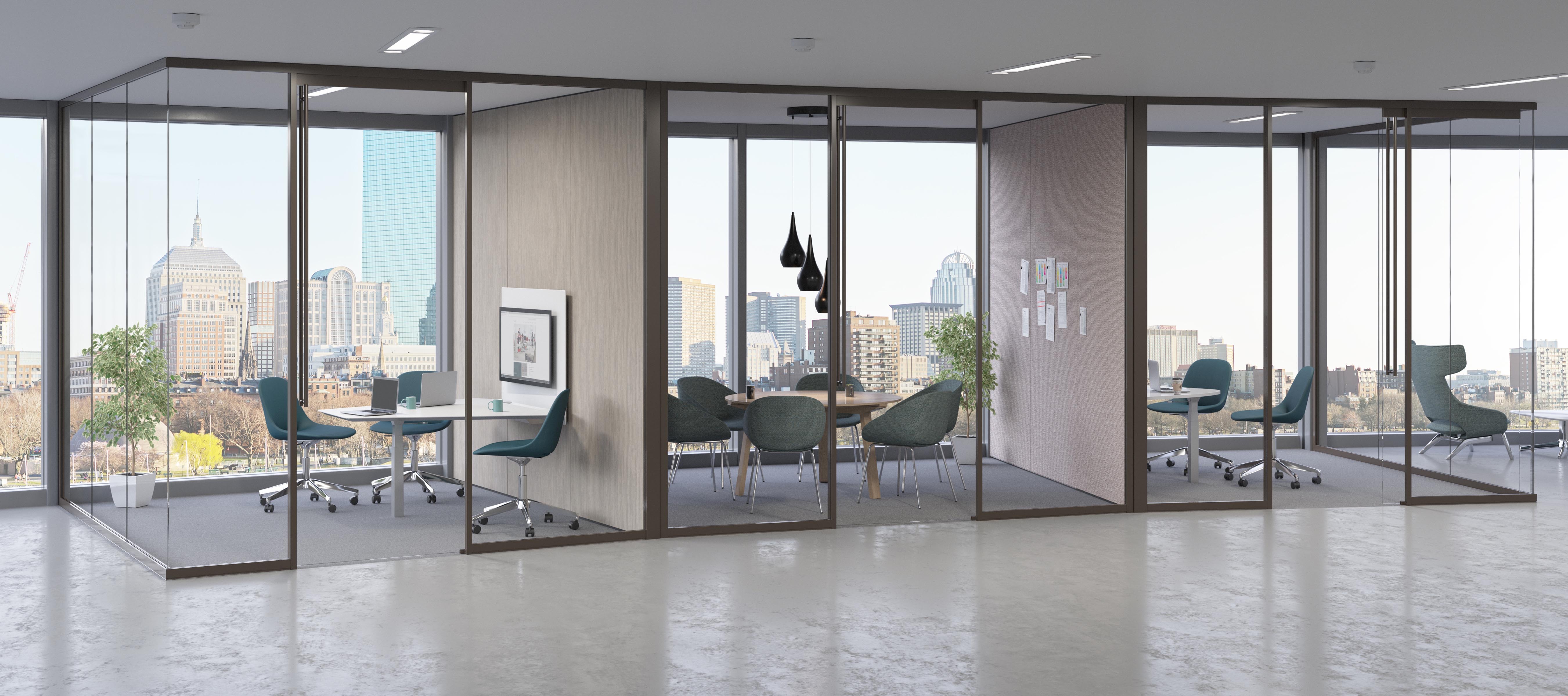 Three connected glass-fronted office spaces created by Tek Vue wall system