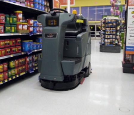 Robotic floor scrubber in Walmart