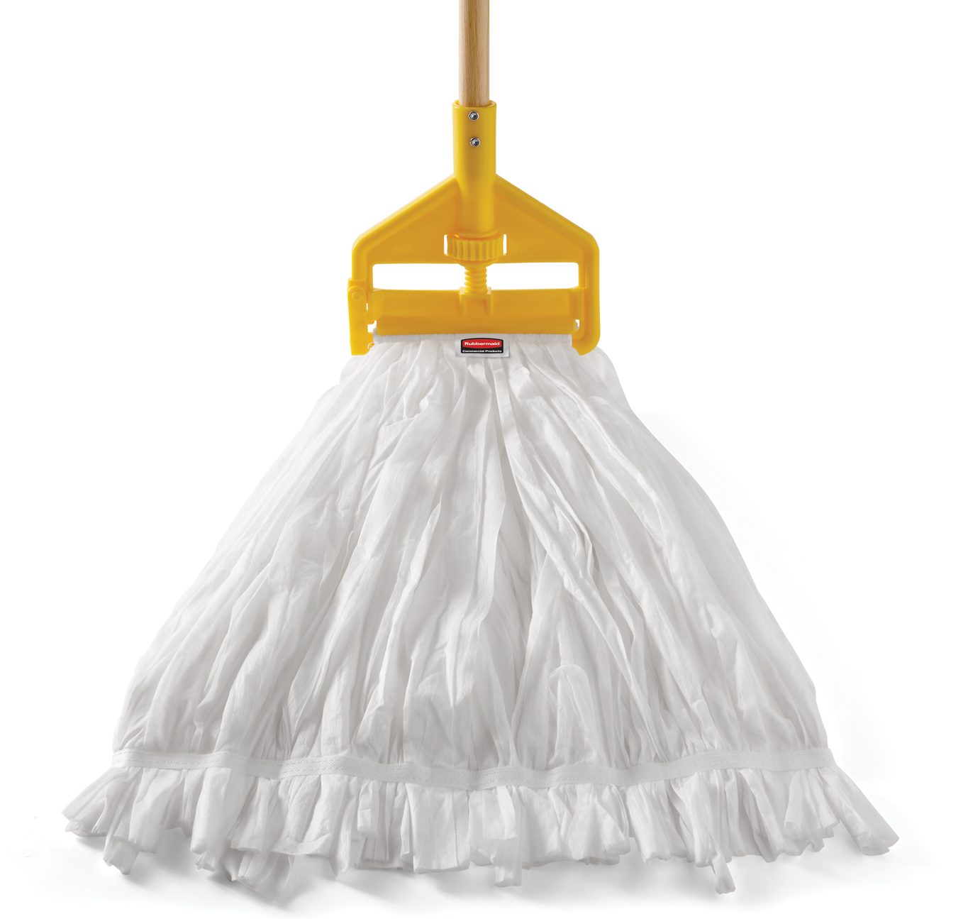 White disposable mop with yellow handle