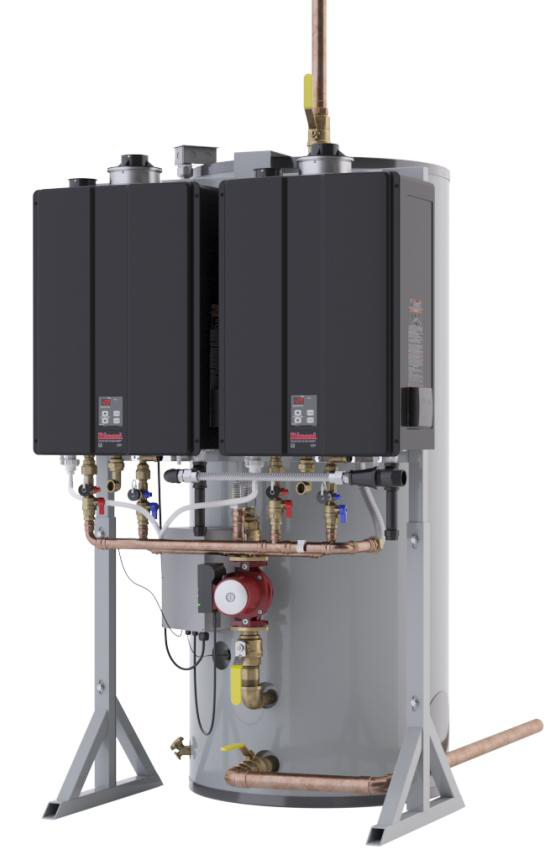 Water heating system: tank with two heaters