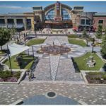 Concrete paver hardscape area in front of mall