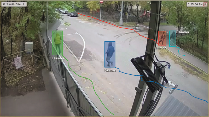 Axxon Next video screenshot with humans indicated by a shaded box