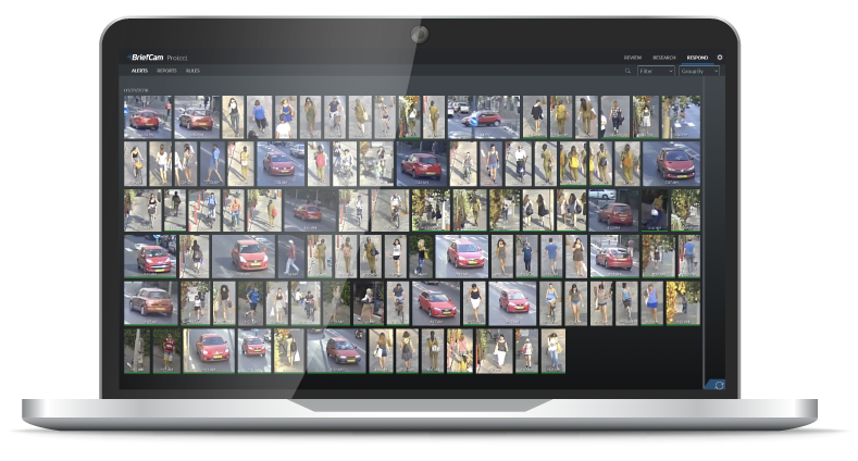 Video analytics platform screenshot with captures of individual people and cars