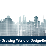 Design-build publication cover with city skyline