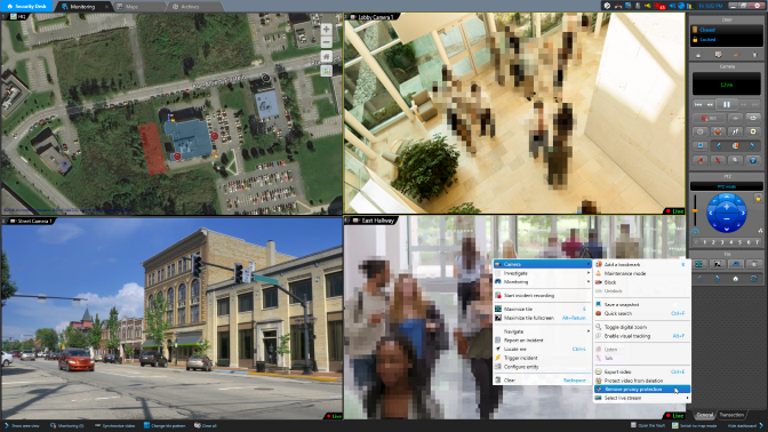 Screen interface with 4 different camera streams; people blurred