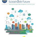Sustainability book cover, with a colorful city skyline and symbols