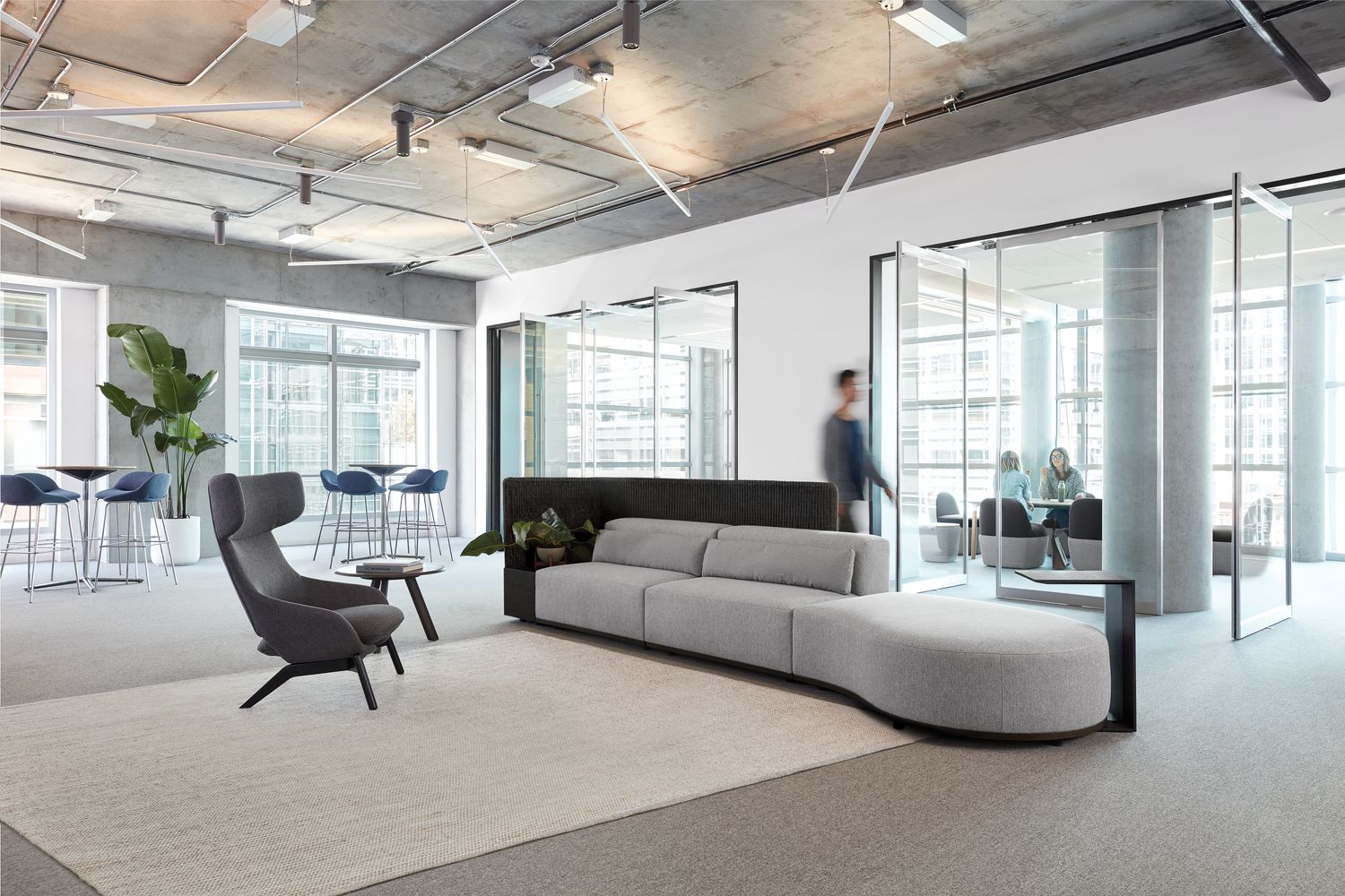 Borough collection of modular lounge seating, tables and screens