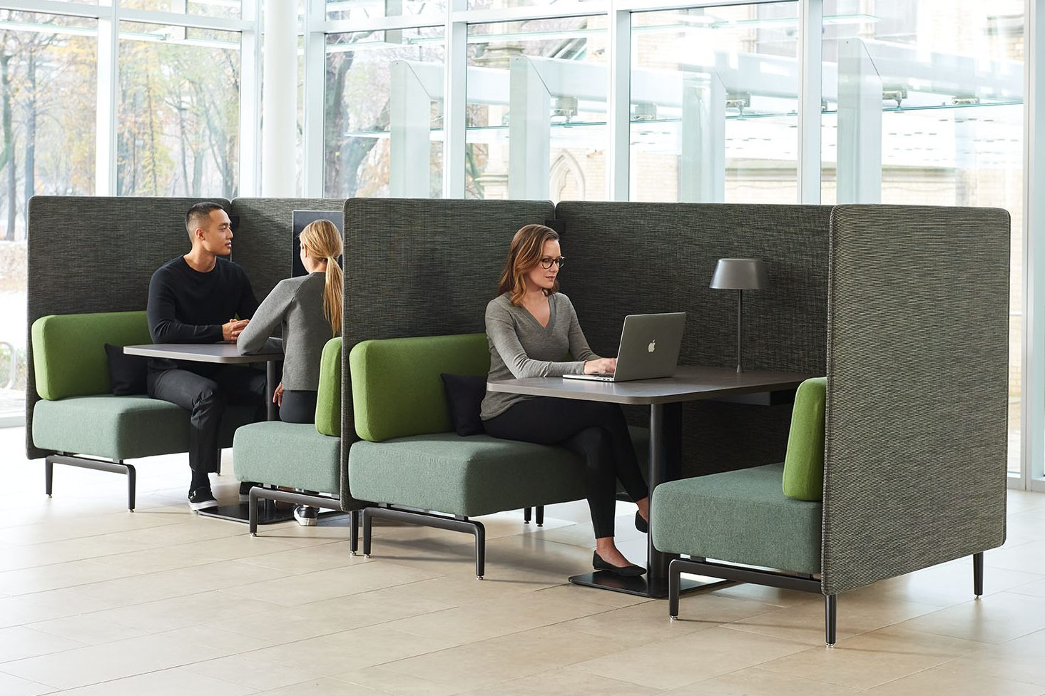 Banqs seating collection, comprising 2 benches, a table and 3/4 wraparound wall each