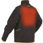 Makita heated jacket from the back, showing coils