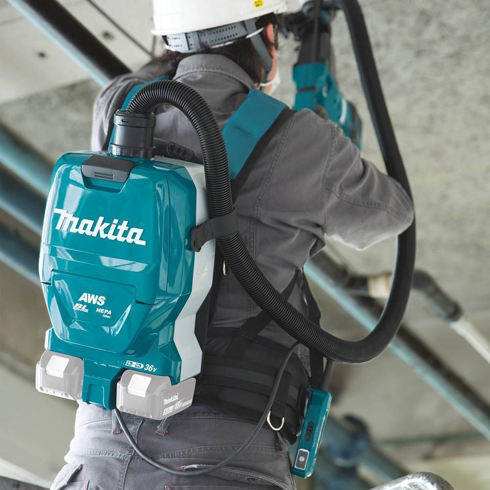 Makita aqua-colored cordless backpack vacuum