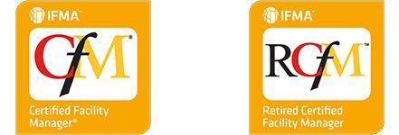 Image of IFMA's CFM and RCFM credentials digital badges