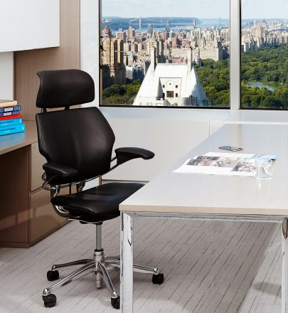 Black Humanscale Freedom chair in a private office setting