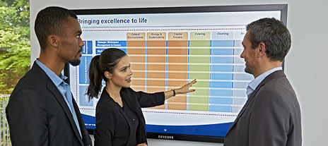 Employees looking at chart of excellence