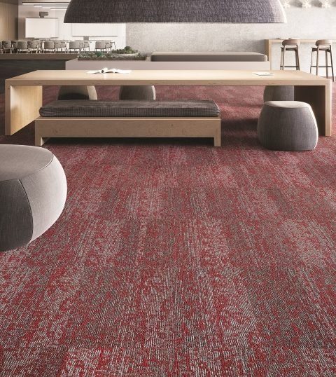Duracolor Tricor carpet fiber shown in Mohawk's Rise Up carpet tile, with furniture