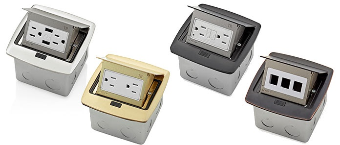 Four Leviton Pop-Up Floor Box Receptacles in various configurations and finishes