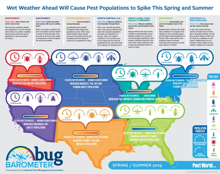 NPMA Bug Barometer: US map with expected pest activity