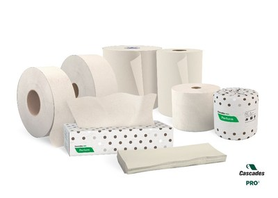 Cascades PRO Latte collection of toilet paper, tissues, hand towels