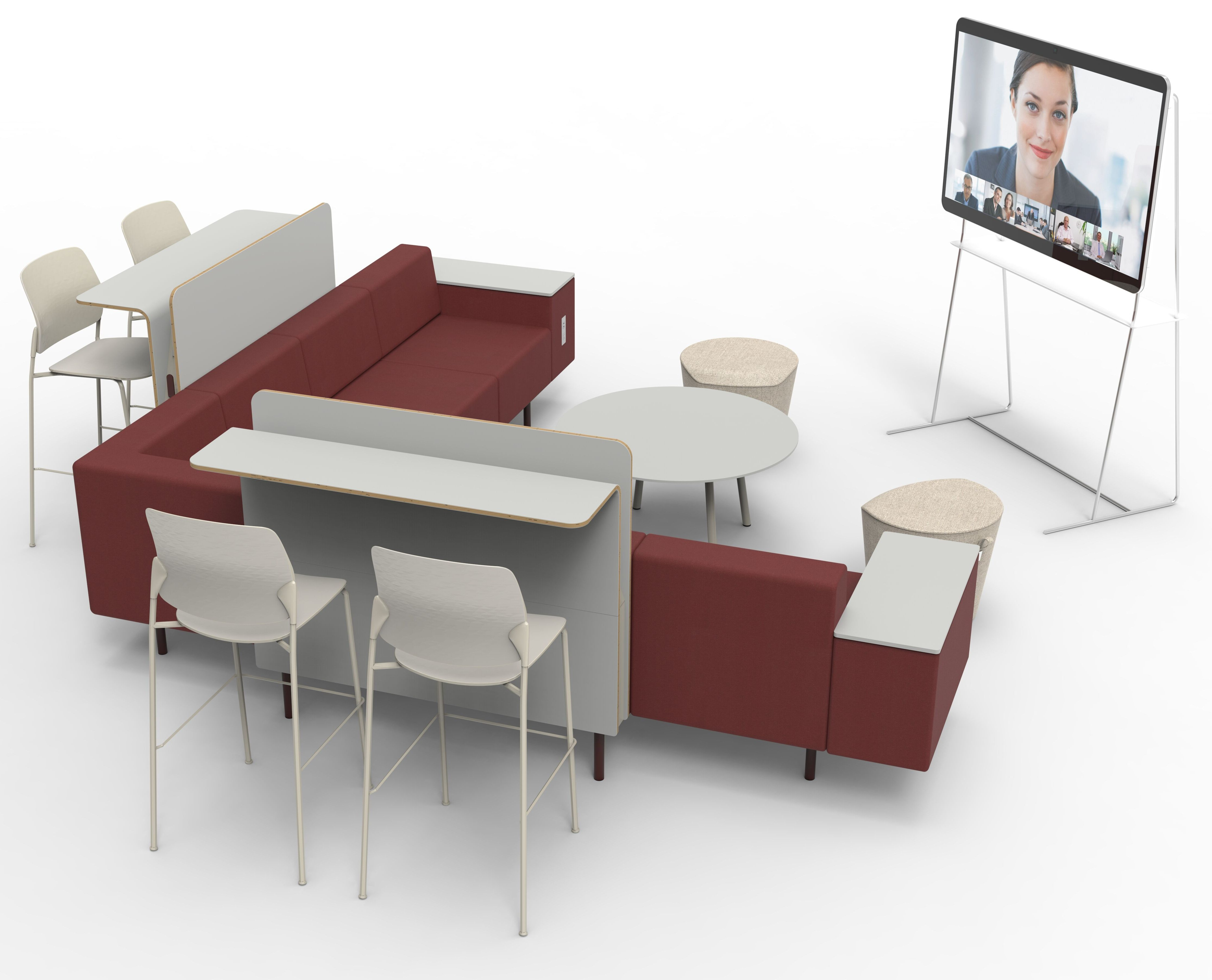 Exchange Phase 3 soft seating system in a meeting configuration