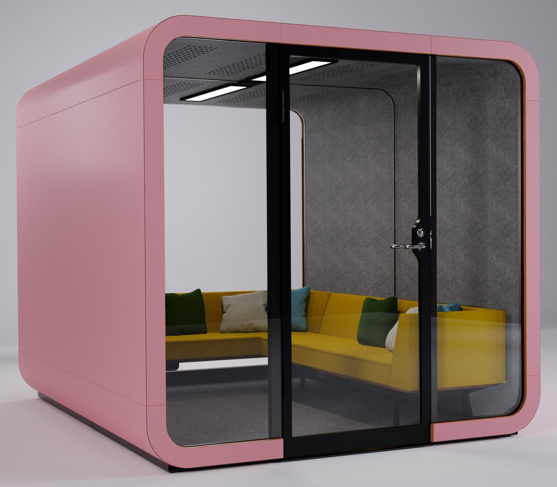 Pink Framery 2Q acoustic meeting pod with new L-shaped sofa