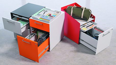 Close-up of HONs Fuse personal storage components