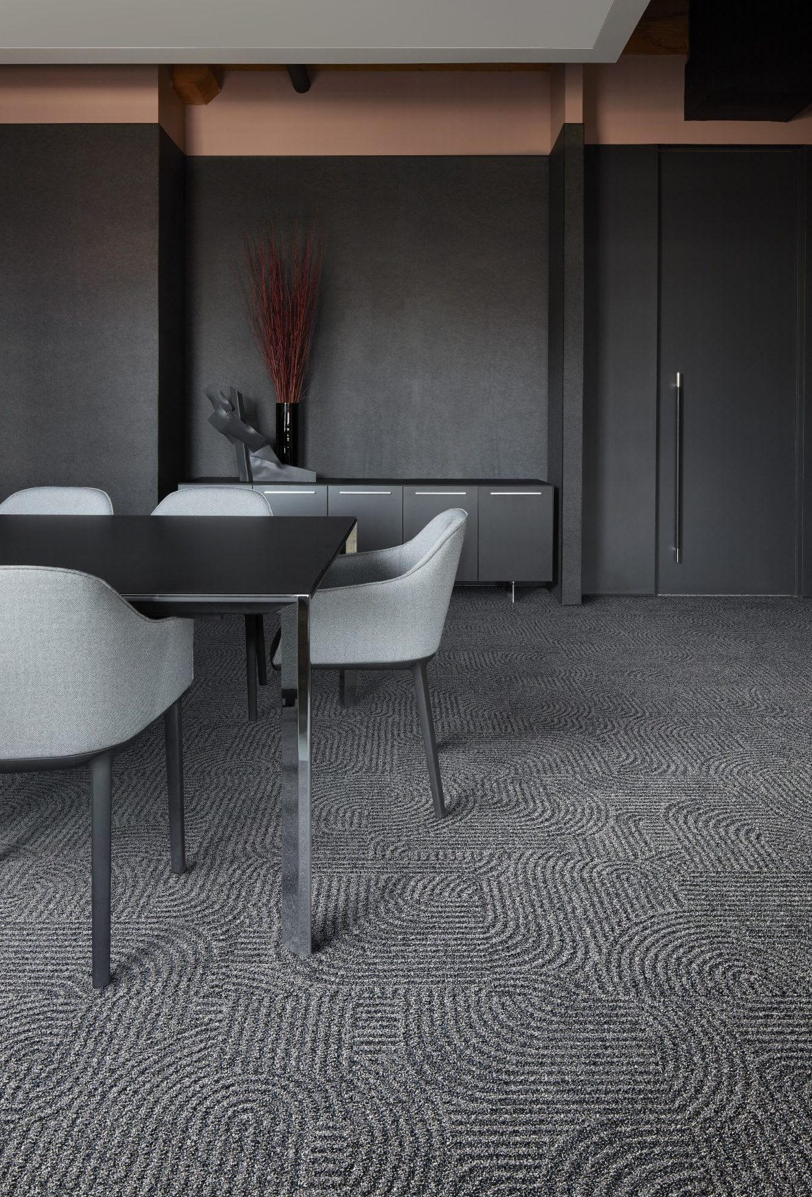 Interface's Step this Way carpet tile, shown with furniture