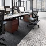 Interface Walk on By luxury vinyl tile (LVT) , shown with furniture