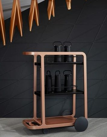 Wooden cart of black Steelcase Flex Mobile Power devices