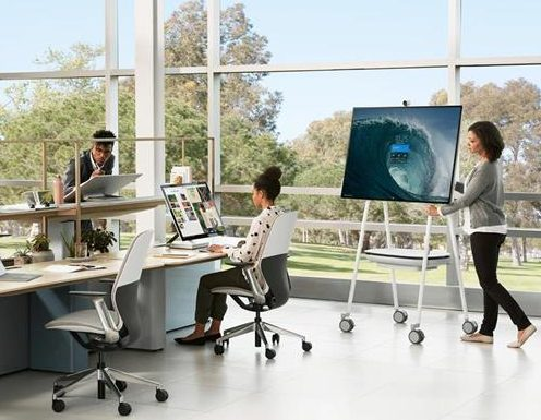 Steelcase Roam mobile stand and wall mount system for Microsoft Surface Hub 2S