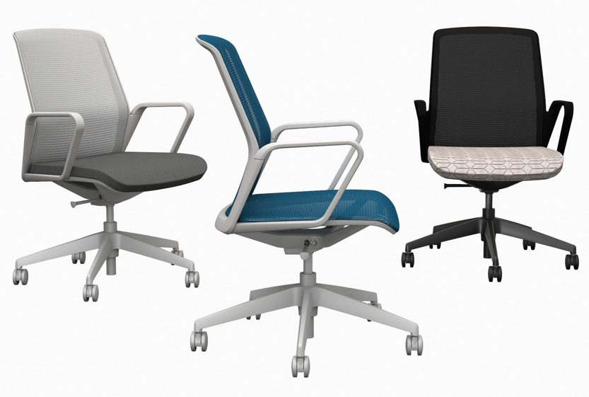 Three models of Teknion's Just-Us adjustable chair