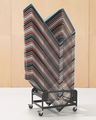 Arper's Stacy collection of stackable chairs, stacked on a trolley