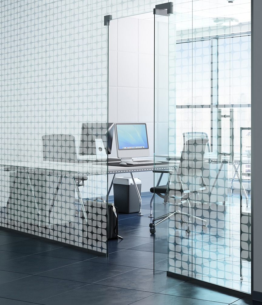 ATI Frosted Fusion Collection of laminates on substrates, used as office wall panels