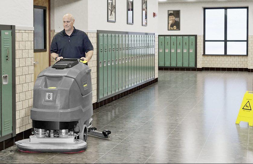 Karcher BD 80-100 floor scrubber in school