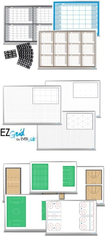 EVERWhite dry-erase calendar whiteboards, coaching whiteboards and EZGrid ghost boards