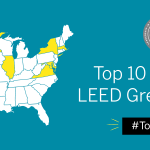 USGBC Top 10 States for LEED map
