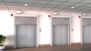 Fire curtain deployed around elevator lobby. Photo provided by BLE Smoke and Fire Curtains.