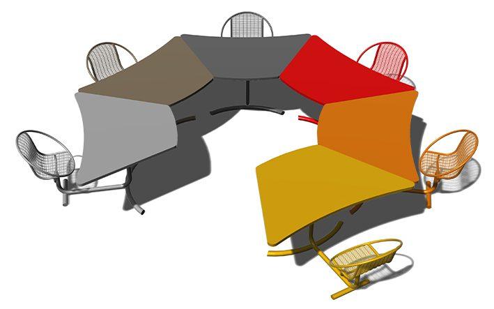 Landscape Forms Wedge Table modular desk system